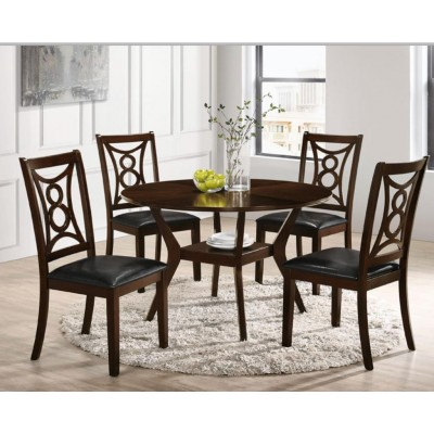 Round wooden dining table set