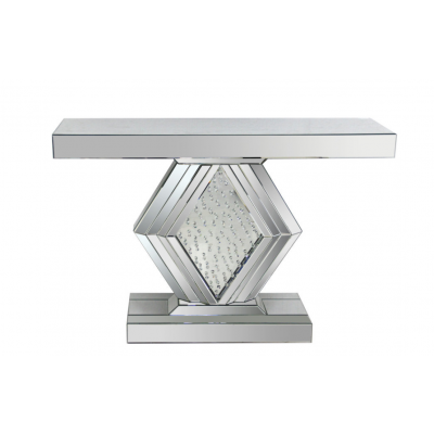 Mirrored Console with Crystal Bottom